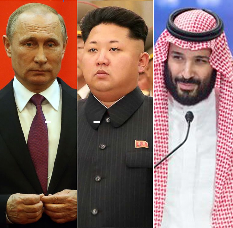 Images of Saudi Crown Prince, Putin, and Kim Jong Un