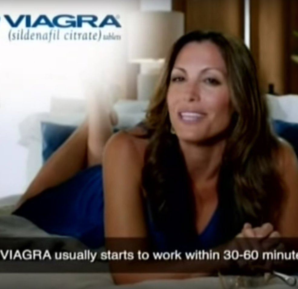 Image of a lady trying to sell you Viagra